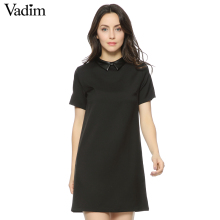 Women Faux PU leather collar black dress short sleeve summer turn-down collar A-line mini dress Vestidos casual dress QZ2292(China)