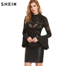 SHEIN Elegant Womens Tops and Blouses Sexy Women Clothes 2017 Black Button Back Flare Sleeve Sheer Chevron Blouse(China)