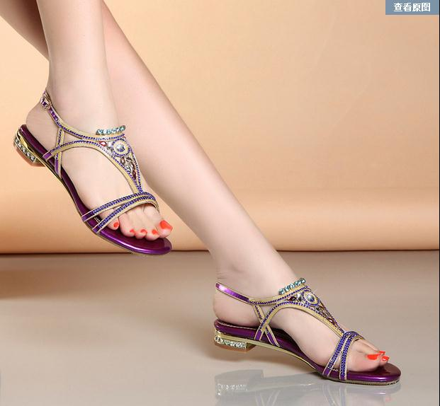 2017 new Bohemian high special crystal diamond sandals female summer leather non-slip flat sand beach shoes women sandals<br>