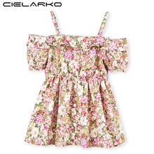 Cielarko Baby Girls Dress Summer Strapless Kids Flower Dresses Beach Children Party Frocks Eeving Children Clothing for Girl(China)