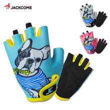 JACKCOME Cycling Kids Gloves Half Finger Shockproof MTB Bike Bicycle Gloves Guantes luva Ciclismo Boys Girls Mitten KG12305