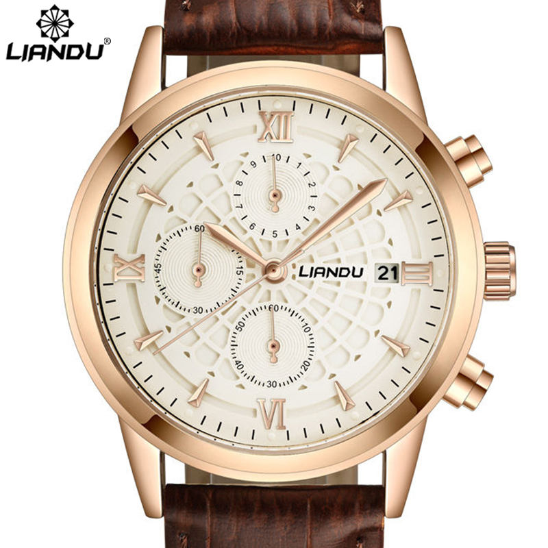 LIANDU Luxury Brand Military Watches Men Quartz Chronograph 6 Hands Leather Clock Man Sports Army Wrist Watch Relogios Masculino<br><br>Aliexpress