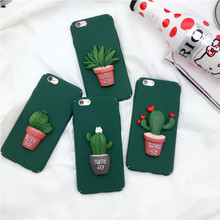 Korea 3D Cartoon Cactus Decoration Case Matte Hard Plastic Cover Capa Carcasas Coque Funda Etui For iPhone 6 6s 6 plus Hull Case