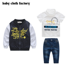 baby boys suit Kids 3pcs Clothing Sets for BoysT shirt+coat +Jeans Casual Set European Style letter Character Suits