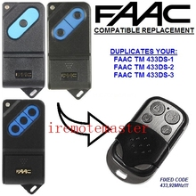 The remote replace For  FAAC TM 433DS-1, TM 433DS-2, TM 433DS-3 garage door opener fixed code 433mhz
