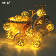 ZINUO 2M 20pcs Rattan Ball Fairy String Light Garland AA Battery Powered Christmas String Light Fairy Party Wedding  Decoration