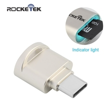 Rocketek high quality Aluminum OTG USB 2.0 C Type-C card reader Adapter TF, Micro SD, SDXC Super High Speed Data Transmission