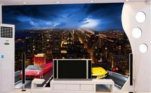Custom photo 3d wallpaper Non-woven mural wall sticker Sports car racing city at night  painting 3d wall room murals wallpaper