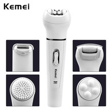 Kemei 5 in 1 Women Electric Shaver Wool Device Knife Epilator Shaving Lady's Callus Remover Facial Messager Cleaning Brush A4546