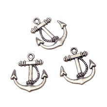 Wholesale Charms 10pcs Vintage Tibetan Silver Ferry Anchor Charm Pendant Jewelry Findings Alloy Gift DIY 20X23mm MS036