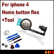 1set 100% top quality For Iphone 4 Home Button Flex Cable REPAIR PARTS FOR iphone 4g + open tool
