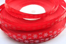 hot sale 100yards/lot 3/8'' 9mm width red colour white snow printed satin ribbon diy hair bow accessories(China)