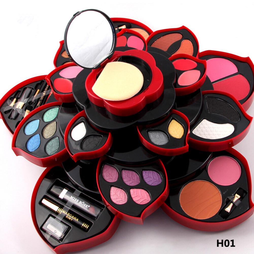 miss rose Eyeshadow Palette Average Pot Plum Blossom Rotary Eye Shadow Glitter Matte Brush Cosmetic Box Case Makeup Tools<br>