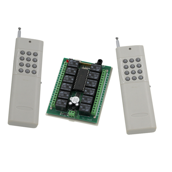 DC12V 24V 12CH 12CH Radio Controller RF Wireless Remote Control Switch System,315/433 Mhz, 2 X Transmitters + Receiver<br>