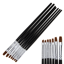 7pcs/set Nail Brushes Acrylic UV Gel Polish Design Painting Pen Drawing 3D Pattern DIY Builder Tips Manicure Tools