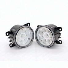 2pcs Car Styling Round Front Bumper LED Fog Lights DRL Daytime Running Driving For MITSUBISHI Grandis NA_W MPV 2004-2010 2011