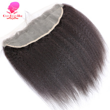 QUEEN BEAUTY HAIR Brazilian Kinky Straight Hair Lace Frontal Closure 13x4 Swiss Lace Ear To Ear Remy Human Hair Free Shipping