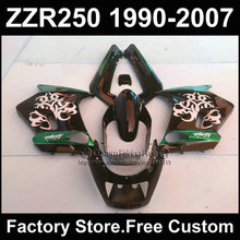 7gifts ABS motorcycles fairings kit for Kawasaki ZZR-250 ZZR250 1990 1992 2007 ZZR 250 90-07 black green body fairing parts