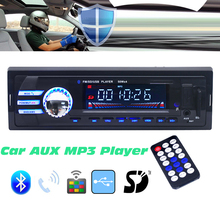 2018B 12V Car Audio Stereo FM Bluetooth V2.0 SD Mp3 Player Radio USB AUX Mic Hands-free with Remote Control Support MP3/WMA/WAV