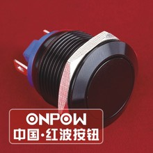 ONPOW 19mm Waterproof IP65 Flat head momentary Black aluminium alloy Push button switch (GQ19F-10/J/A) CE,ROHS(China)