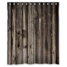 Welcome!Waterproof Polyester Fabric Shower CurtainDecorative Rustic Old Barn Wood Art Shower Curtain(China)
