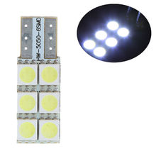 T10 194 168 W5W 6 5050 SMD LED Side Wedge Dashboard Car Light Bulbs Ultra White Event Glow Party Supplies