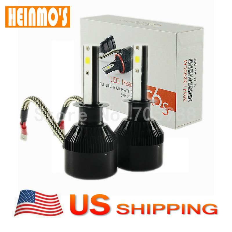 H1 led headlight conversion kit bulbs LED headlamp replacement HID Halogen auto headlamp car front lamps 6500K USA shipping(China)