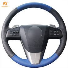 MEWANT Black Blue Genuine Leather Steering Wheel Cover for Mazda 3 Axela 2008-2013 Mazda CX-7 CX7 2010-2016 Mazda 5 2011-2013(China)