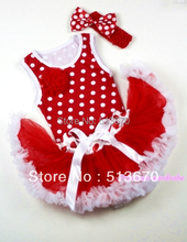XMAS Minnie Newborn Pettitop with a Red Rose with Red White Mixed Newborn Pettiskirt with Red Headband Minnie Bow MANG1004-2