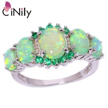 CiNily Created Green Fire Opal Crystal Silver Plated Ring Wholesale Retail Hot Sell for Women Jewelry Ring Size 5-12 OJ7552(China)