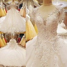 Buy LS6278 princess puffy wedding dress beading crystal ball gown O neck cap sleeves lace wedding gowns bridal real photos for $339.65 in AliExpress store