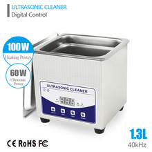 1.3L Ultrasonic Cleaner Cleaning Baskets Jewelry Watches Dental PCB 60W 40kHz Ultrasonic bath Digital Heated Ultrasonic Cleaner