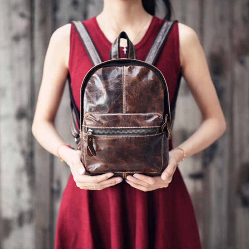 ONLVAN Brand Vintage New Design Backpack Women Cow Leather School Small Backpacks for Casual Mini Ladies Shoulder bags Mochila<br>