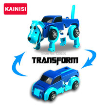 free shipping 4 colors 14CM cool Automatic transform Dog Car Vehicle Clockwork Wind up toy for children kids boy girl toy Gift(China)