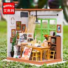 atelier Wooden Miniature DIY Doll House Toy Assemble Kits 3D Miniature Dollhouse Toys With Furniture Lights for Birthday Gift(China)