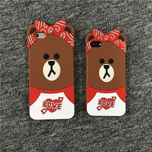 Fashion Korea Cartoon Brown Bear Scarf  Cover For iphone 6 6S 7 Plus Soft Silicone Phone Couple Lovers Case Bag Coque Capa