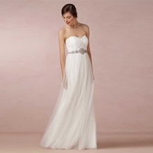 Snow White Simple Designed Wedding Gowns Sweetheart A-line Tulle Pleat Long Wedding Bridal Dresses 2015 Lowest Price