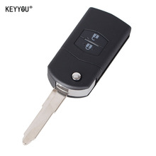 KEYYOU 2 Button Remote Key Fob Shell Case Folding Flip With Uncut Blade For Mazda 3 5 6  With LOGO Free Shippping