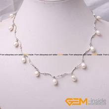 "Necklace: 7-8x8-10mm Freshwater Pearl Silver Plated Necklace 18"" Classical Necklace For Party For Gift   Wholesale !"