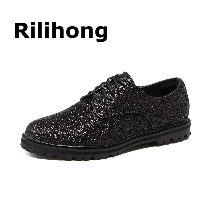 Rilihong Womens Platform Shoes Spring Autumna Shiny British Lace Up PU Oxfords Pointed Toe Flat Shoes Woman Size 35-41<br>