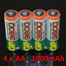 Brand New 2016 0riginal 4pcs/Lot GP 1.2V NiMh 1000mAh AA    Battery Rechargeable AA Batteries pilas recargables