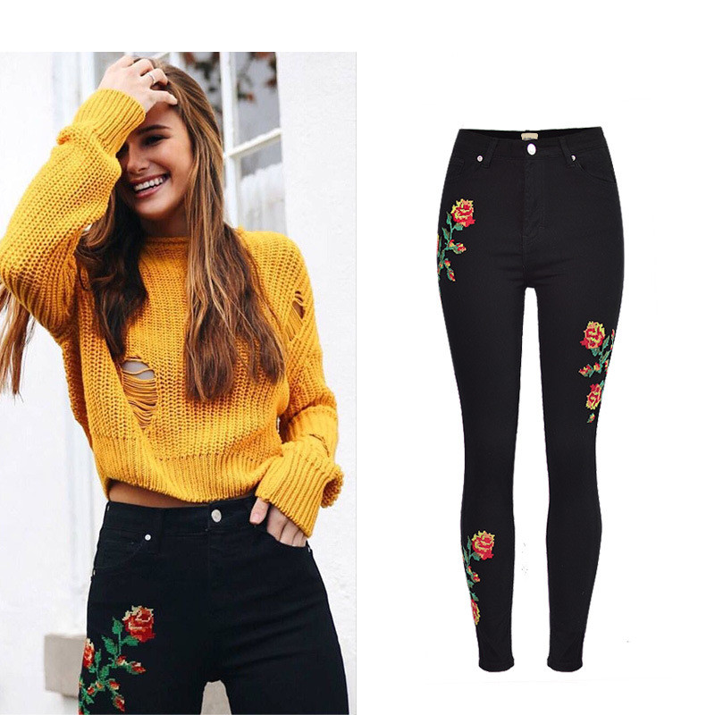 Hot Sexy High Waist Denim Stretchy Black Jeans Embroidery Rose Fashion Skinny Full Length Bodycon Tight Women Pencil Jeans Femme (10)