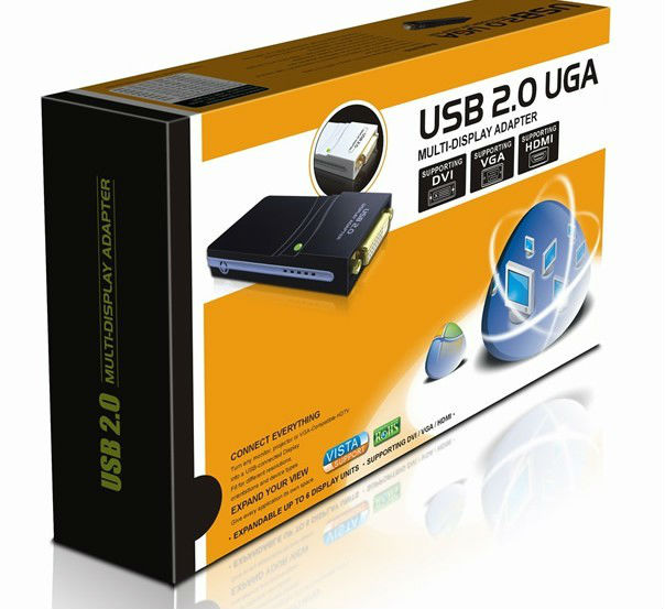 New arrival USB 2.0 UGA Multi-Display Adapter Supporting DVI+VGA+HDMI (Max. resolution: 1920*1080)<br>
