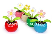 100pcs/lot With Retail Package Flip Swing Flap Solar Sun Powered Flower Car Toy Gift Free Shipping(China)