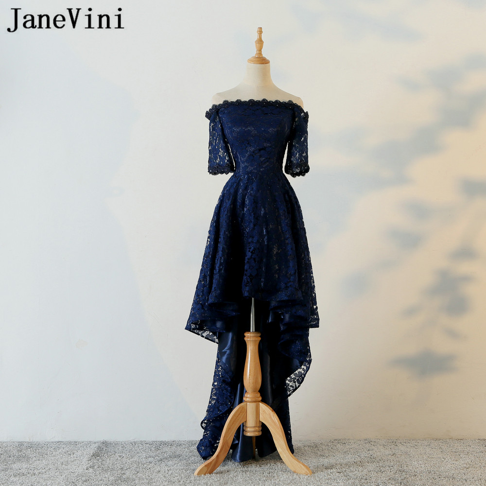 JaneVini Navy Blue High Low Bridesmaid Dresses Beaded Short Front Long Back  Lace Off Shoulder Girls 30de52c0d50c