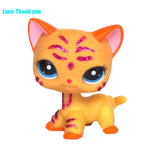 Yellow Sparkle Glitter Blue Eyes Short Hair cat EUROPEAN kitty LPS Toy #2118 Children's gifts