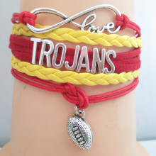 infinity love Trojans USC football team bracelets 1pc/lot fashion love Trojans USC jewelry(China)
