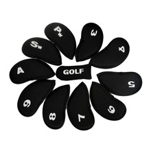 10Pcs Golf Club Iron Putter Head Cover HeadCovers Protect Set Neoprene Black Hot Sale(China)