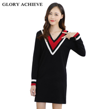 Knitted Women's Winter Sweaters 2017 New Black Split V-neck  Long Sleeve Sweaters and Pullovers for women Long Sweater(China)