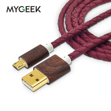 MyGeek Leather Micro USB Cable for samsung galaxy s6 Android phone MP3 MP4 GPS Camera Fast Charge cable(China)